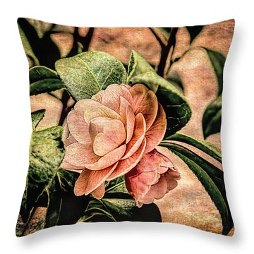 Camellia Grunge Throw Pillow