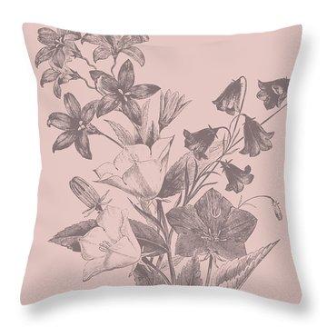 Campanulas Blush Pink Flower Throw Pillow
