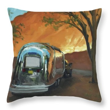 Camping At The Red Rocks Throw Pillow