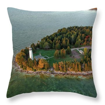 Throw Pillow featuring the photograph Cana Island Aerial by Adam Romanowicz
