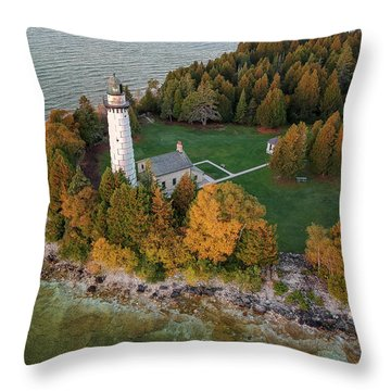 Throw Pillow featuring the photograph Cana Island Lighthouse At Dawn by Adam Romanowicz