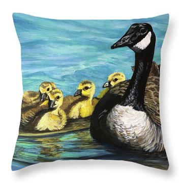 Canadian Goise And Goslings Throw Pillow