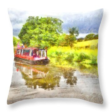 Canal Boat On The Leeds To Liverpool Canal Throw Pillow