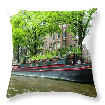 Canal Boats In Amsterdam - 2 Throw Pillow