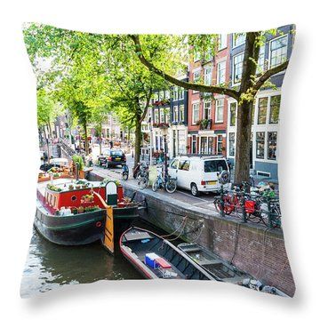 Canal Boats In Amsterdam Throw Pillow