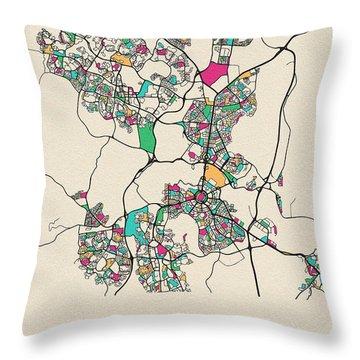 Canberra, Australia City Map Throw Pillow