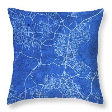 Canberra Australia City Street Map Blueprints Throw Pillow