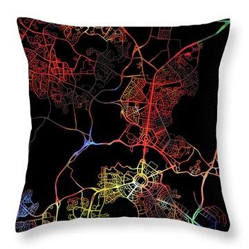 Canberra Australia City Street Map Watercolor Dark Mode Throw Pillow