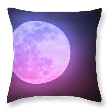 Cancer Super Wolf Blood Moon Near Eclipse Throw Pillow