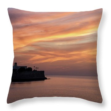 Throw Pillow featuring the photograph Candelaria Bulwark At Dusk Cadiz Spain by Pablo Avanzini