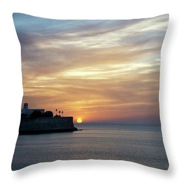 Throw Pillow featuring the photograph Candelaria Bulwark At Sunset Cadiz Spain by Pablo Avanzini