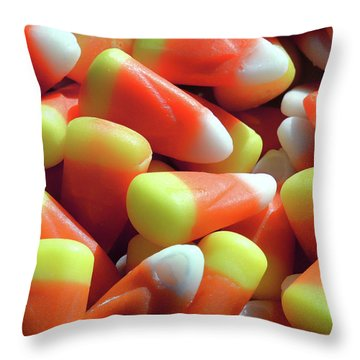 Throw Pillow featuring the photograph Candy Corn For Halloween by Bill Swartwout Fine Art Photography