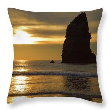 Cannon Beach November Evening Throw Pillow