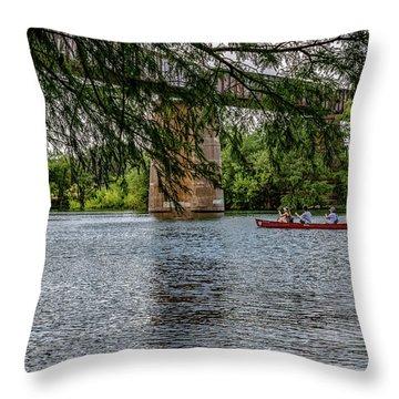 Canoeing Lady Bird Lake Throw Pillow