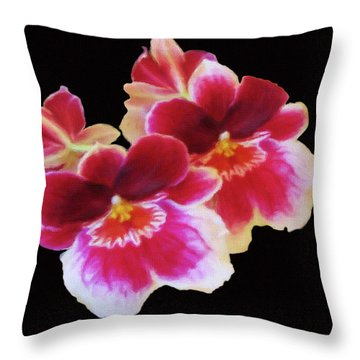 Canvas Violets Throw Pillow