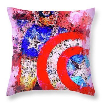 Captain America Watercolor Throw Pillow