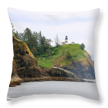 Cape Disappointment With Cliffs Throw Pillow