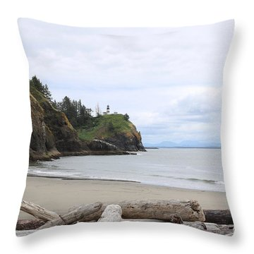Cape Disappointment With Lighthouse And Beach Throw Pillow