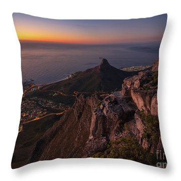Cape Town Lions Head Sunset From Table Mountain Throw Pillow