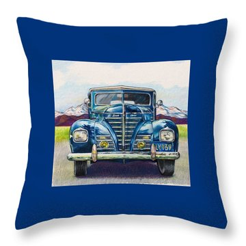 Throw Pillow featuring the drawing Car 1 by Camille Rendal
