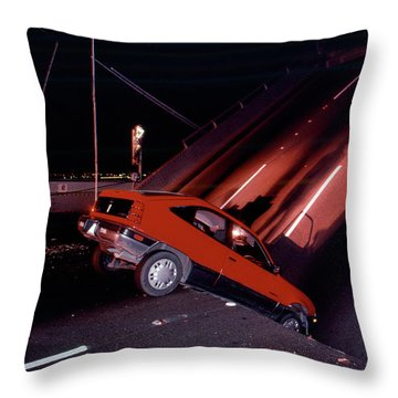 Car Crash At The Collapsed Section Of The Bay Bridge Throw Pillow