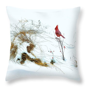 Cardinal Angel In The Snow Throw Pillow
