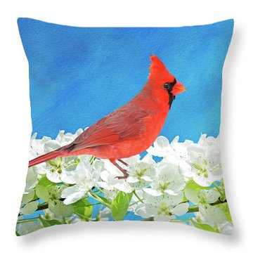 Cardinal In The Blooming Tree Throw Pillow