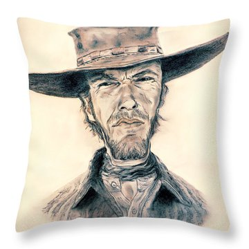 Caricature Of Clint Eastwood As Blondie In The Good The Bad The Ugly Throw Pillow
