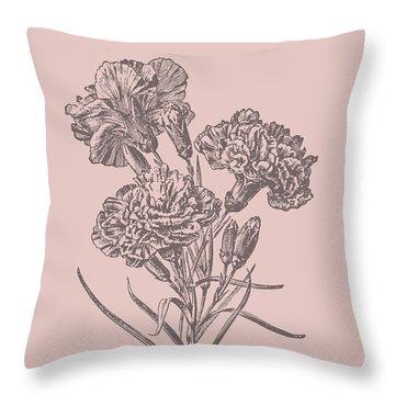 Carnations Bush Pink Flower Throw Pillow