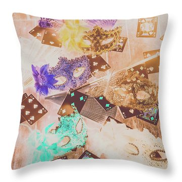 Carnival Of Cards Throw Pillow