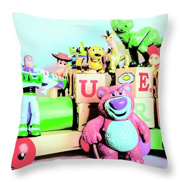 Carriage Of Cartoon Characters Throw Pillow