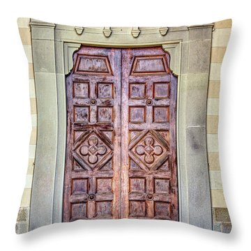 Carved Door Of Cortona Throw Pillow