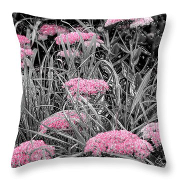 Carved Pink Butterfly Bush Throw Pillow