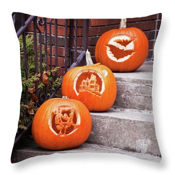Throw Pillow featuring the photograph Carved Pumpkins For Autumn Holidays by Tatiana Travelways