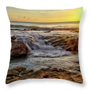 Cascading Sunset At Crystal Cove Throw Pillow