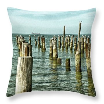 Throw Pillow featuring the photograph Casino Pilings At Cape Charles Virginia by Bill Swartwout Fine Art Photography