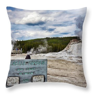 Throw Pillow featuring the photograph Castel Geyser In Yellowstone May Erupt by Tatiana Travelways
