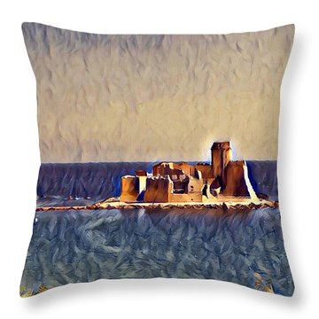 Throw Pillow featuring the digital art Castle In Sea by Lucia Sirna