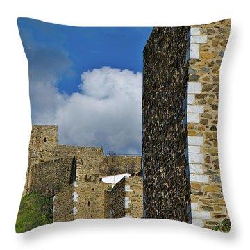 Castle Wall In Alentejo Portugal Throw Pillow
