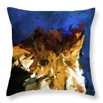 Cat And The Cobalt Blue Wall Throw Pillow