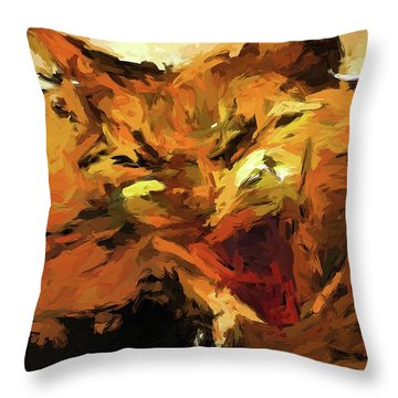 Cat Cathartic Scream Throw Pillow