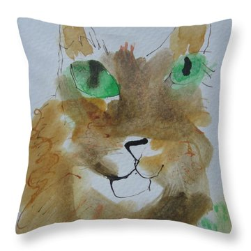 Throw Pillow featuring the drawing Cat Face Yellow Brown With Green Eyes by AJ Brown