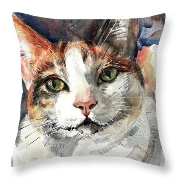 Cat In Watercolor Throw Pillow