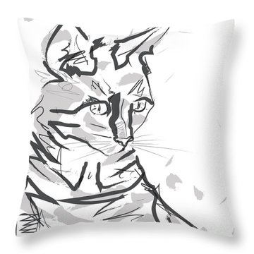 Throw Pillow featuring the painting Cat Lisa In Lines by Go Van Kampen