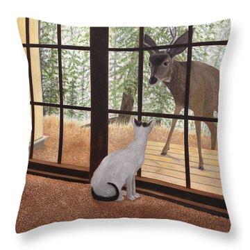 Cat Meets Deer Throw Pillow