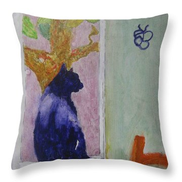 Throw Pillow featuring the painting cat named Seamus by AJ Brown