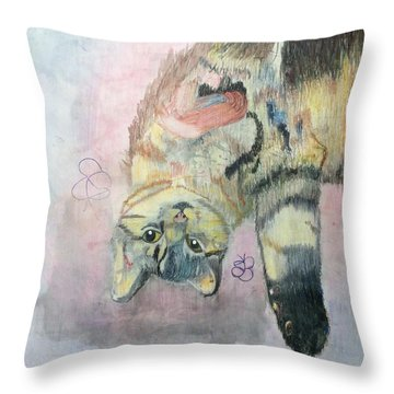 Playful Cat Named Simba Throw Pillow