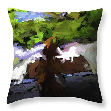 Cat On The Porch Throw Pillow