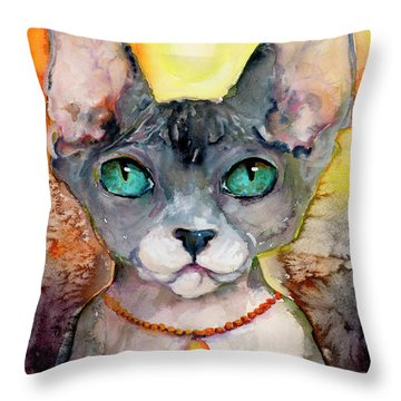 Cat Portrait My Name Is Adorable Throw Pillow