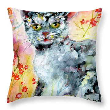 Cat Portrait My Name Is Hobo Throw Pillow